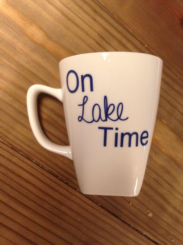 Ceramic coffee mug // on lake time // personalized coffee ...
