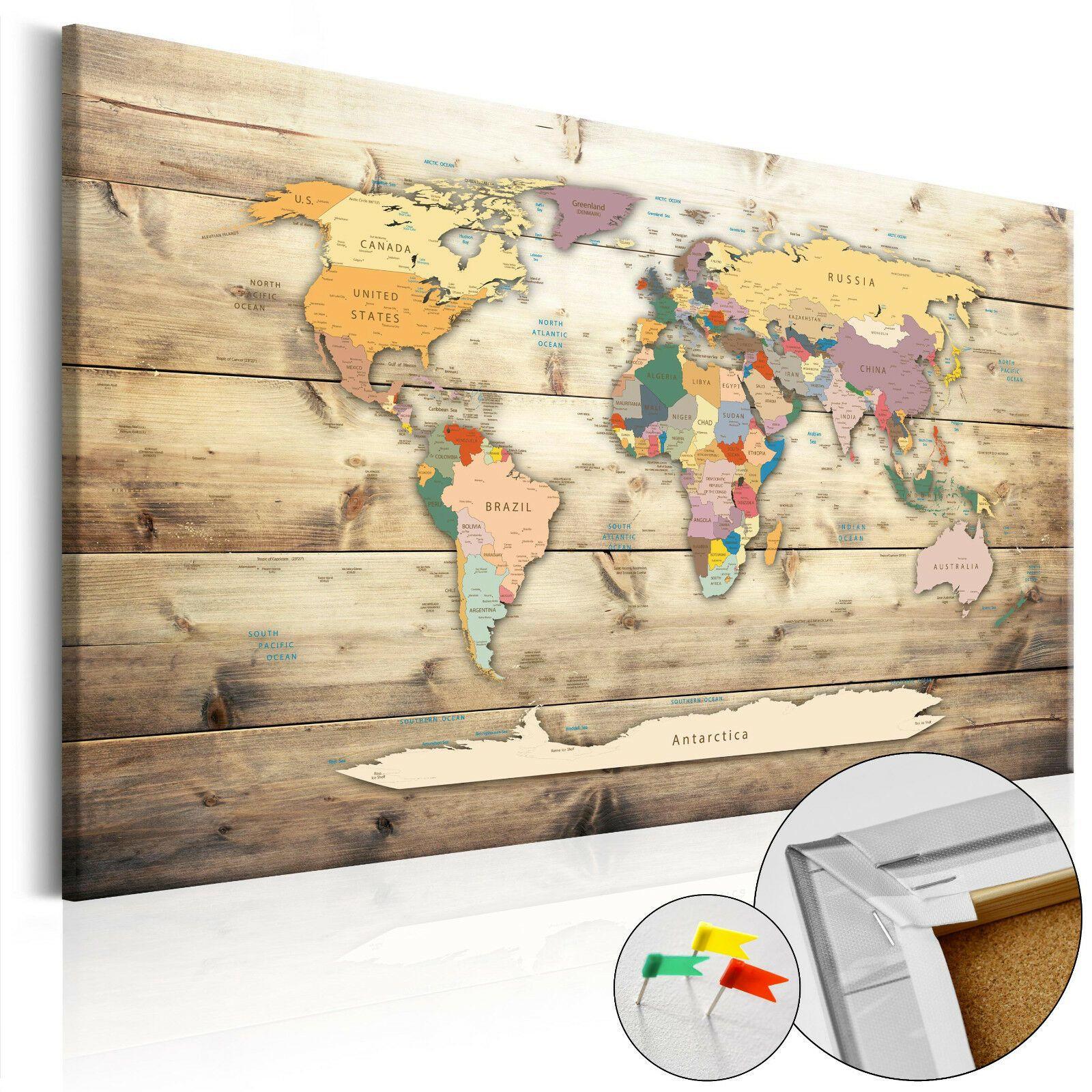 Details Zu Pinnwand Weltkarte Wandbilder Landkarte Leinwand Bilder