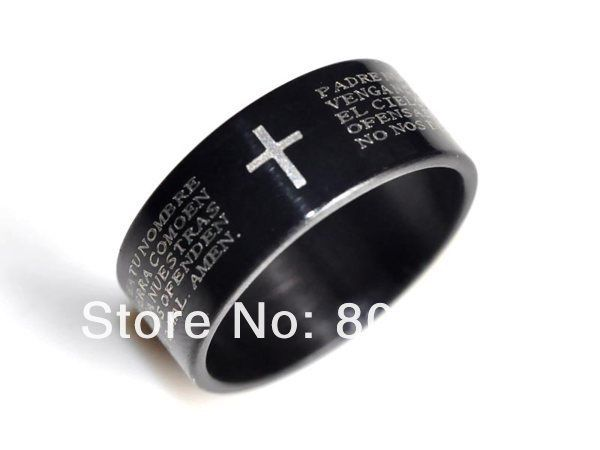 Wholesale 24pcs Mens Religious Bible Ring Black Stainless Steel Father Prayer Cross Rings Hot Sale Unisex Jewelry #Affiliate