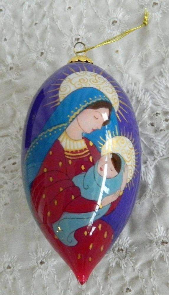 Li Bien Christmas Ornament Glass Hand Painted Mary & Baby Jesus ...