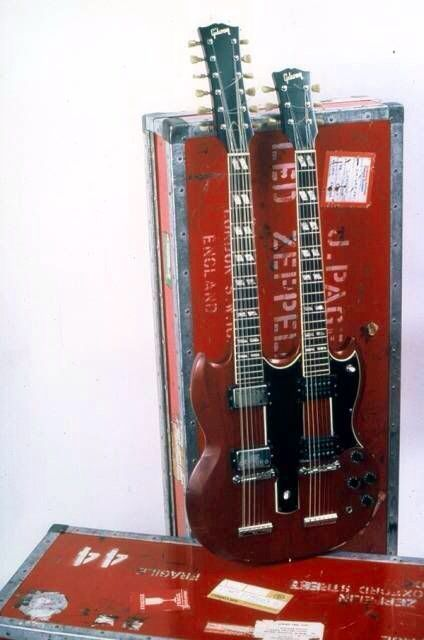 jimmy page gibson eds 1275 6 12 string double neck cherry red with trunk case led zeppelin in. Black Bedroom Furniture Sets. Home Design Ideas