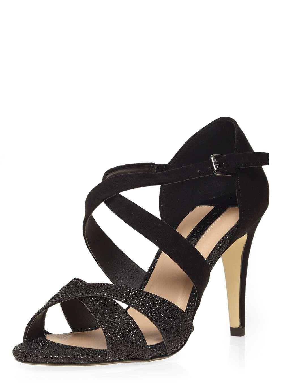 Black glitter sandals - Black Glitter Becca Sandals