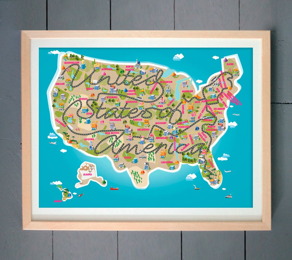 Cute Kids Room Decor USA Map Nursery Map United States of