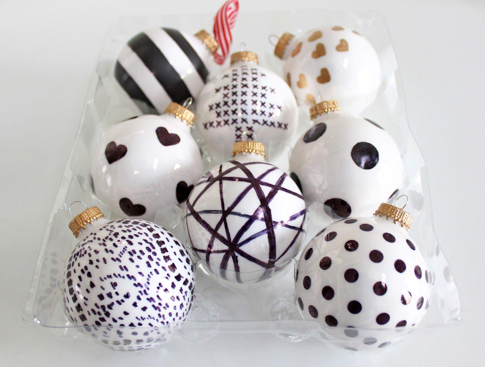 White christmas tree ball ornaments - Am Dolce Vita Diy Handpainted Holiday Ball Ornaments Diy Ball Ornaments Black White Themed Christmas Treesbeaded