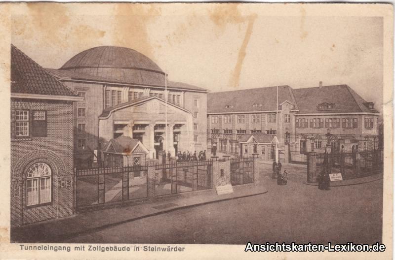 Ansichtskarten-Lexikon :: Tunneleingang mit Zollgebäude  :: Steinwerder (Steinwärder)-Hamburg