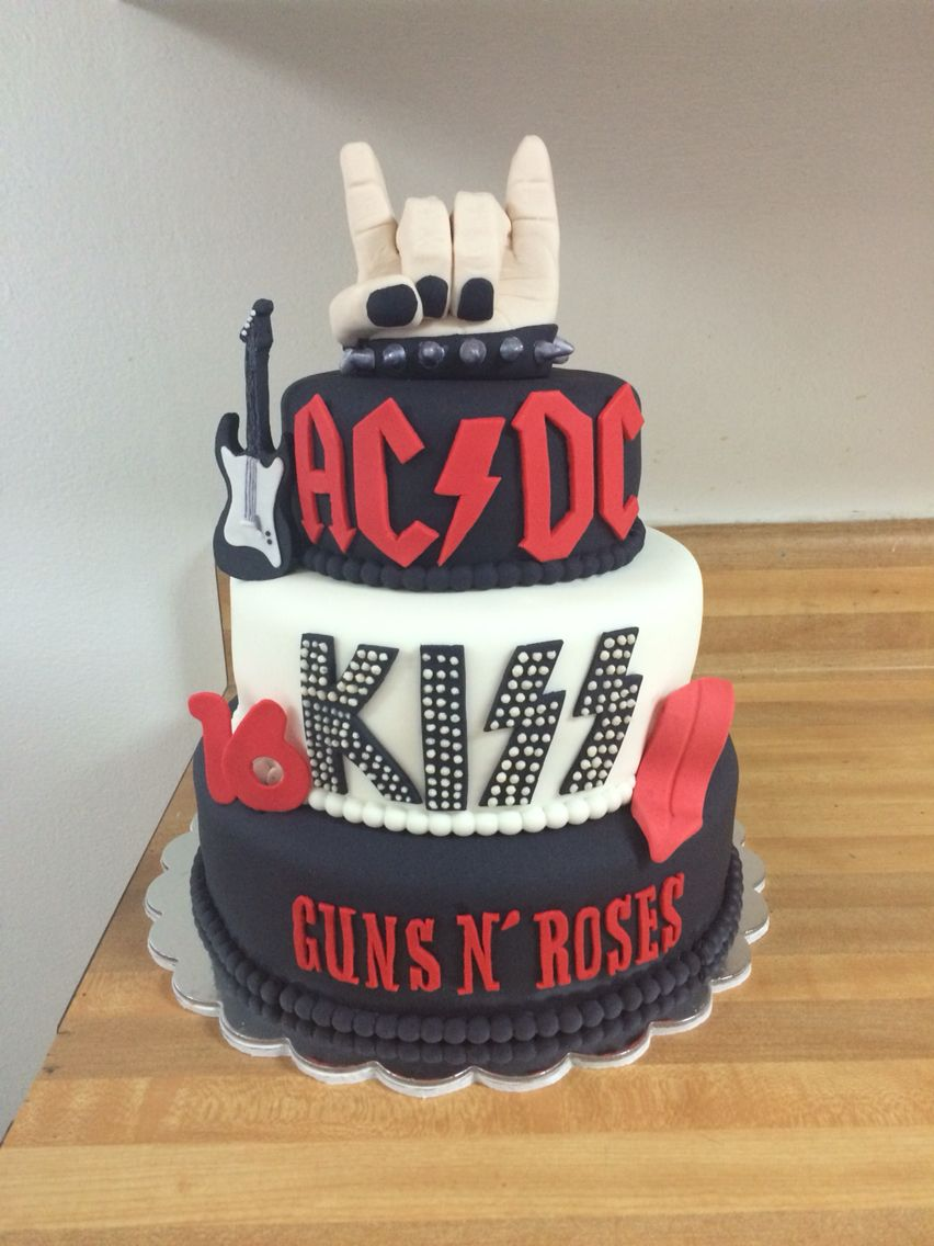 Excellent Rock N Roll Cake Kiss Ac Dc Guns N Roses With Images Rock Birthday Cards Printable Opercafe Filternl