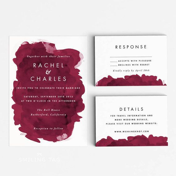 Printable Wedding Invitation Set - Modern Burgundy Watercolor - best of sample invitation letter debut party