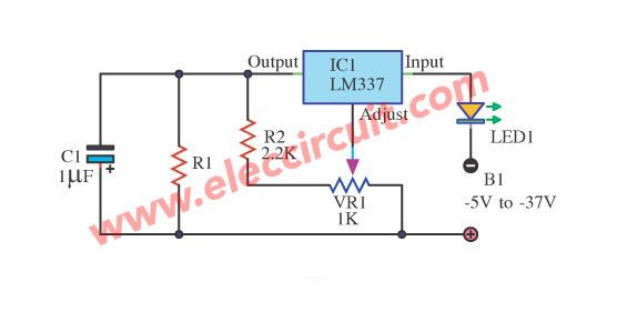 Precision LED Regulator circuit using LM337 | Simple Electronic ...