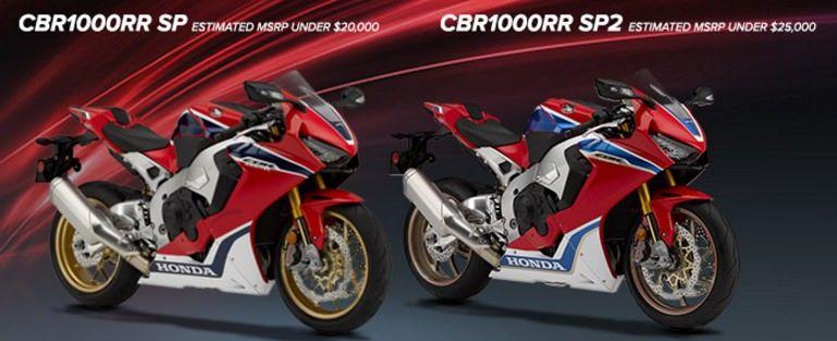 New 2017 Honda Cbr1000rr Sp Vs Sp2 Review Of Specs Pictures
