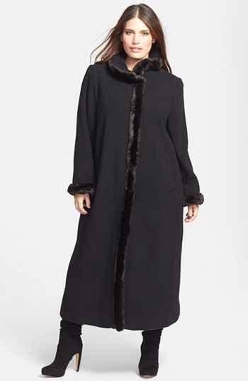 5549432f30e Ellen Tracy Faux Fur Trim Wool Blend Coat (Plus Size) available at   Nordstrom. love this length