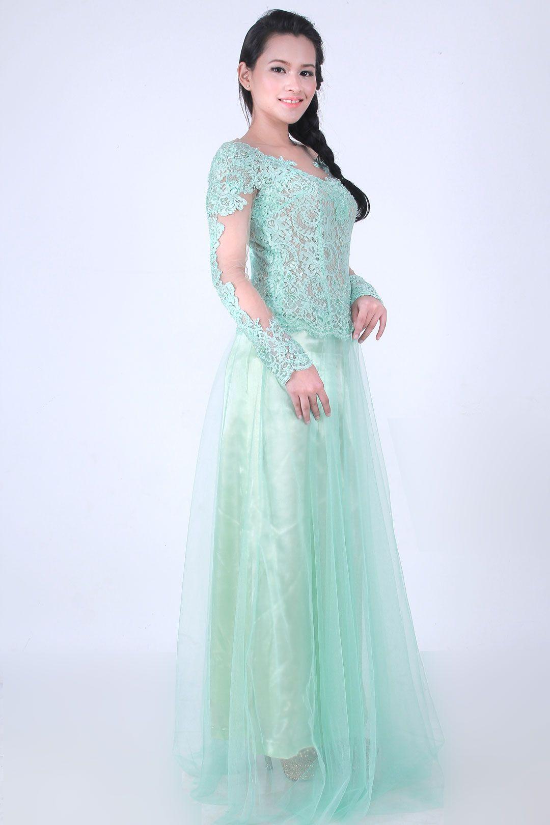 Mentha Green Kebaya Modern Berwarna Hijau Mint Dengan Lace Untuk