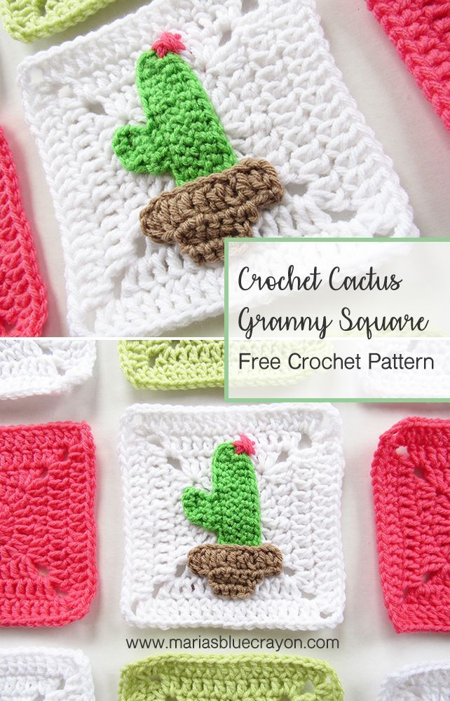 Crochet Cactus Granny Square - Free Pattern | Tut♡riales, tips and ...