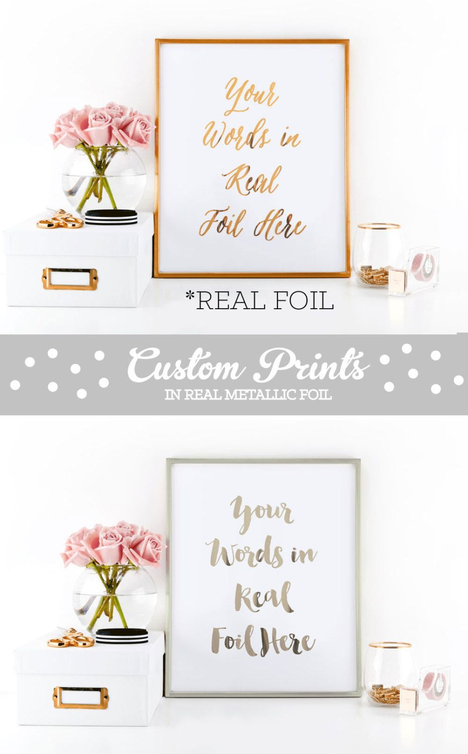 Custom Quote Prints Rose Gold Foil Print Copper Foil Print Custom Quote Prints Word