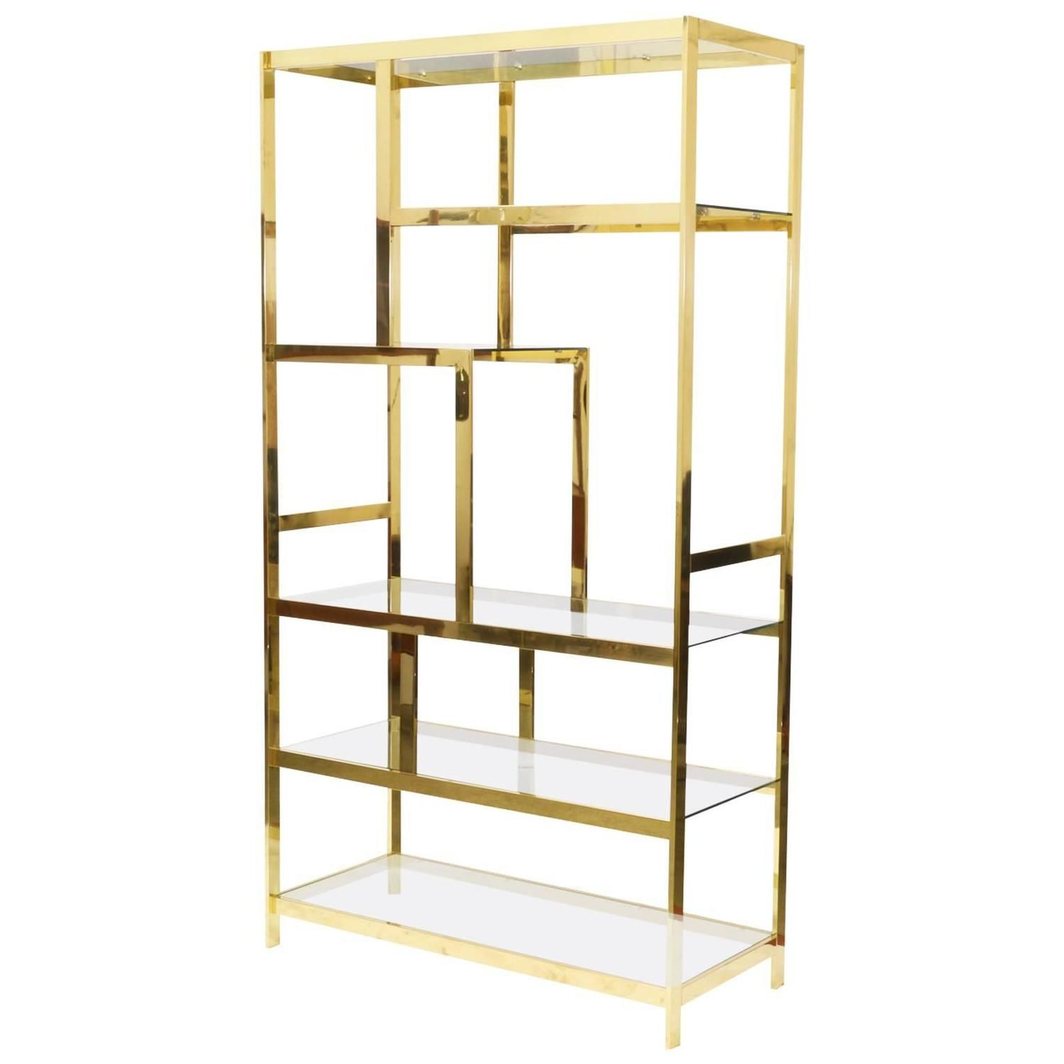 midcentury brass etagere display shelf unit  display shelves  - midcentury brass etagere display shelf unit