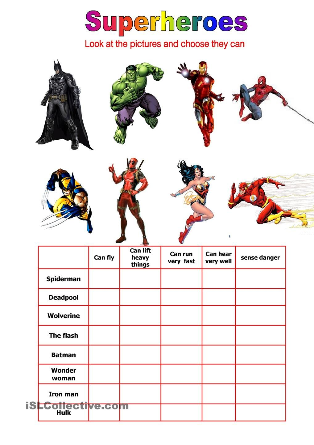 Superheroes can they | ESL worksheets of the day | Pinterest ...