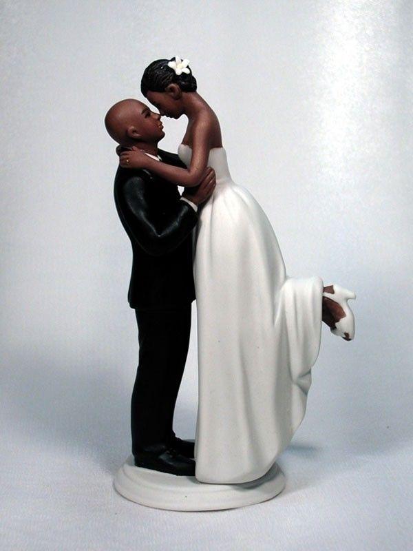 Custom Painted Wedding Interracial Couple Ornament Blonde Bride African American Groom