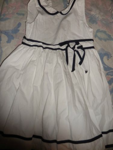 euc Janie & Jack white navy trim dress girls 3T