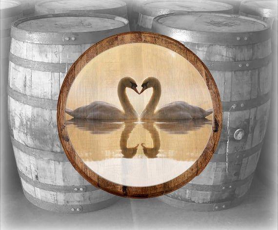 Oak Bourbon Barrel Lid Love Swans Kissing - Heart Reflection in the Water Wall Decor Wood Wall Art -  PURPOSE: Authentic Bourbon Barrel Heads Make great Wall Décor signs.  Barrel Lids are great for th - #Art #barrel #bathroomvanity #bedroomdecor #bohemiandecor #Bourbon #decor #dressingroom #garageworkshop #graykitchen #heart #homedecor #house #kidsroom #kissing #kitcheninterior #Lid #livingroomdecor #Love #oak #pinkbathroom #reflection #roomdecor #smallbathroom #smallgarden #swans #Wall #wallde