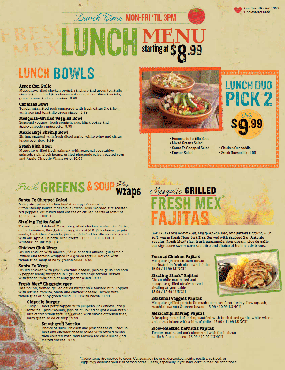 lunch menu - chevys mexican restaurant - bloomington minnesota, mall
