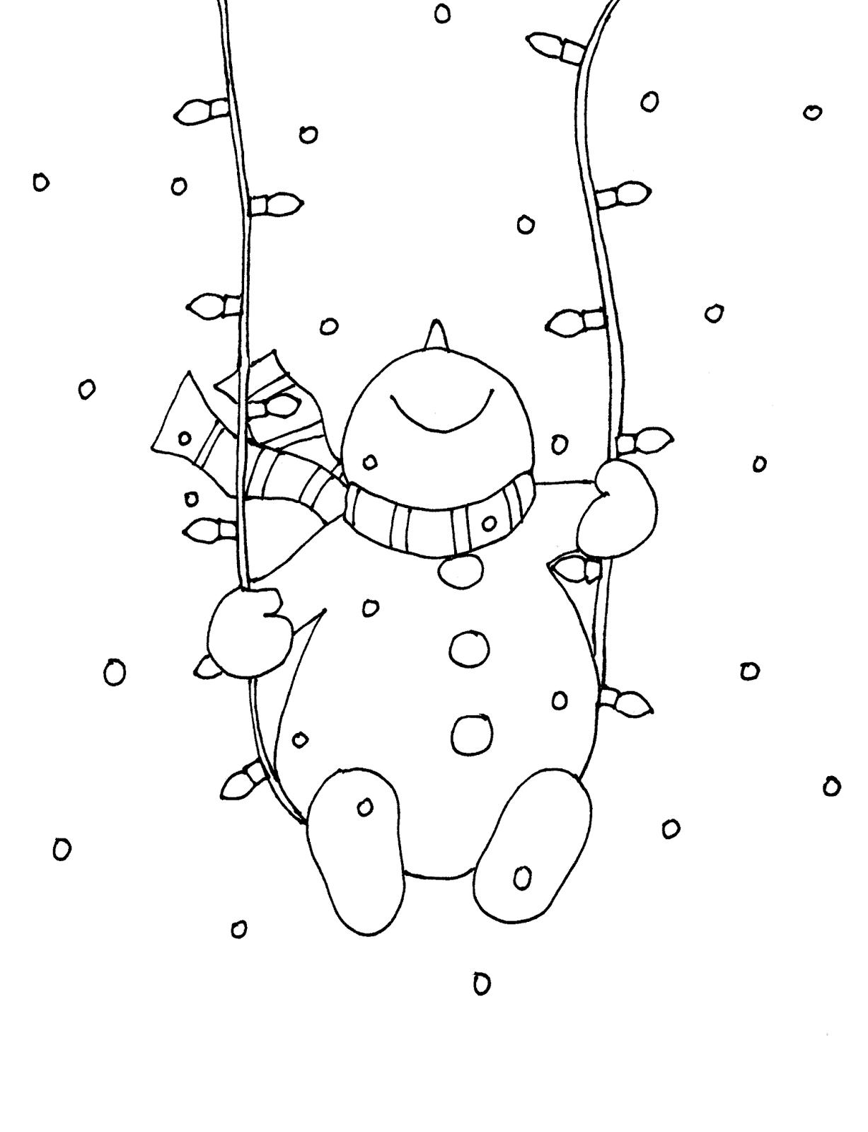 Snowman Christmas Lights Swing Free Dearie Dolls Digi