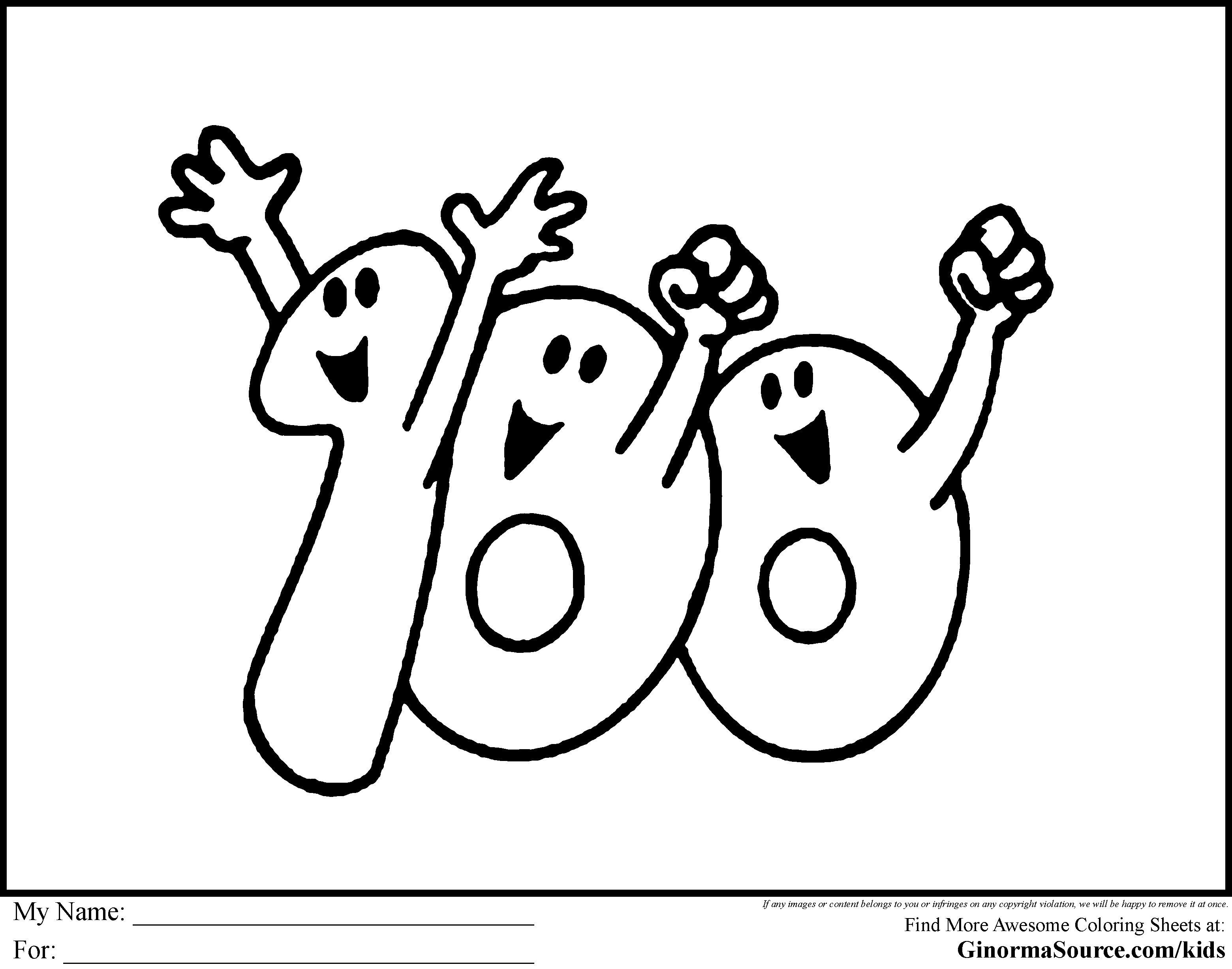 cool 100 day coloring pages - GINORMAsource Kids | Mcoloring | Pinterest