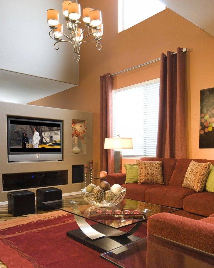 Living room high ceiling soft orange modern living tv - Orange and brown living room ideas ...