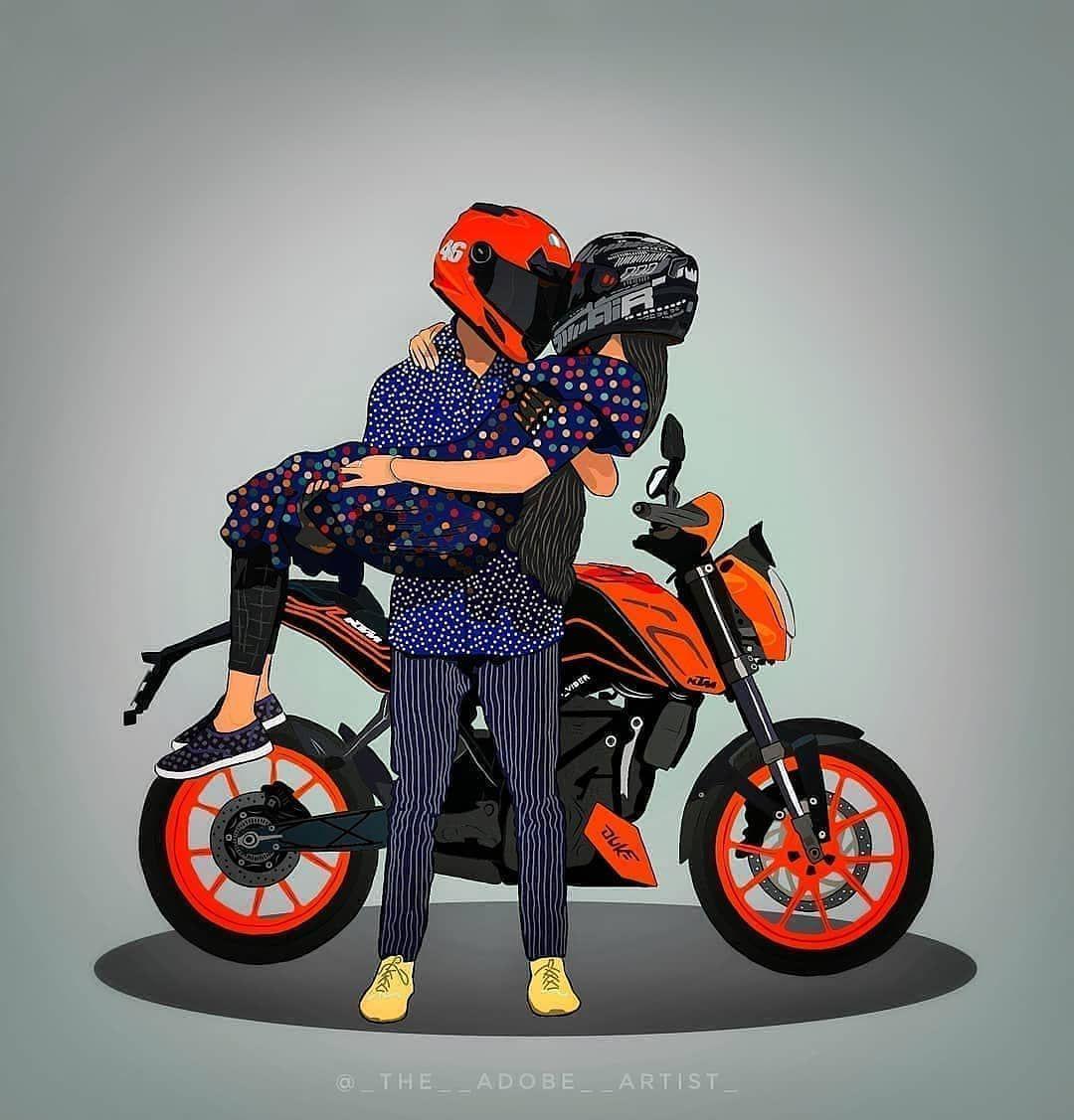 Ktm India 300k On Instagram Follow Ktm Duke Shootout Use Our Hashtag Ktmdukeshootout I In 2021 Bike Drawing Cartoon Wallpaper Hd Animated Love Images Get ktm duke couple wallpaper png