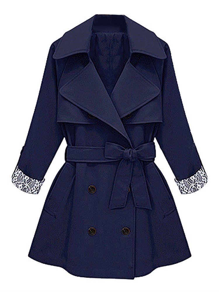 0eaeb46becc Sale 30% (56.79 ) - Elegant Women Lapel Long Sleeve Lace Patchwork Double-breasted  Jacket