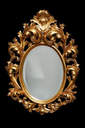 Dorado espejo de estilo rococ espejos pinterest for Espejo dorado bano