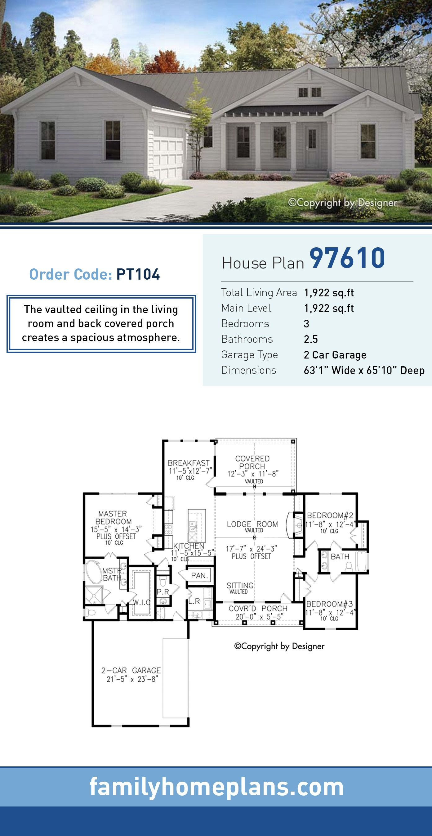 Ranch House Plan 97610 Total Living