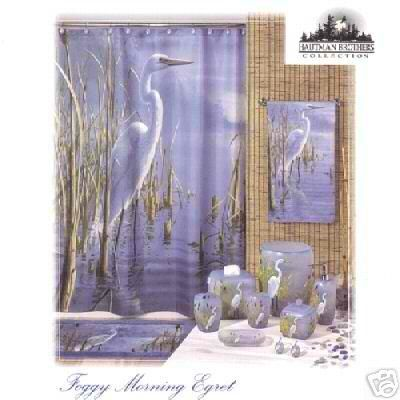 New! Foggy Morning Egret Fabric Shower Curtain Nature
