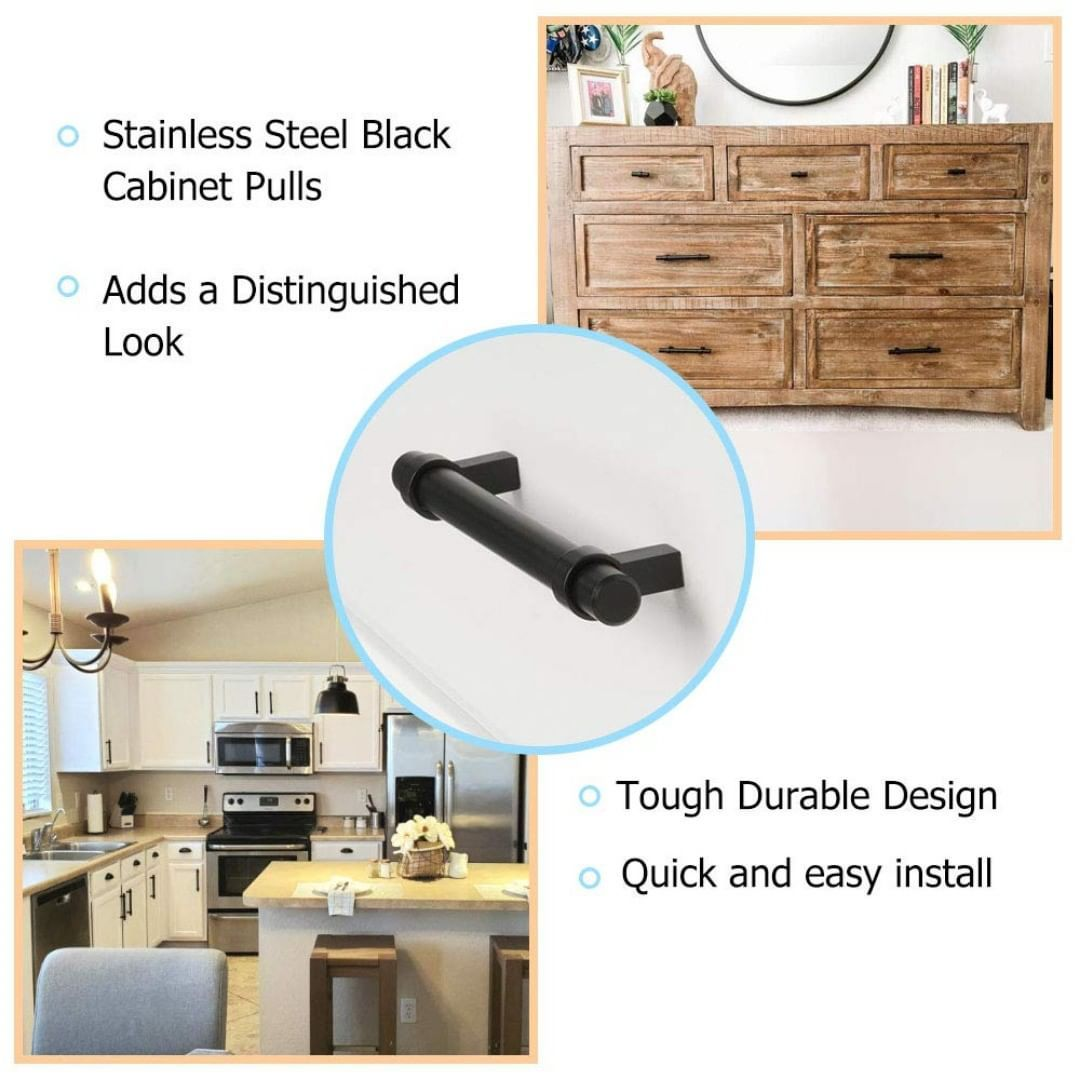 Stainless steel hollow round tube and solid durable zinc-alloy base leg, specially processed,The cabinet handles offer beautiful surface in European style brushed black design, not only enhances the stainless steel construction, it also acts as a wear-resistant barrier.🐵 🐵 🐵