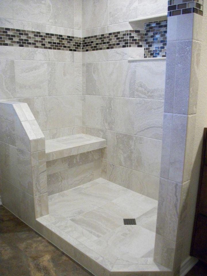 white porcelain tile shower with tile