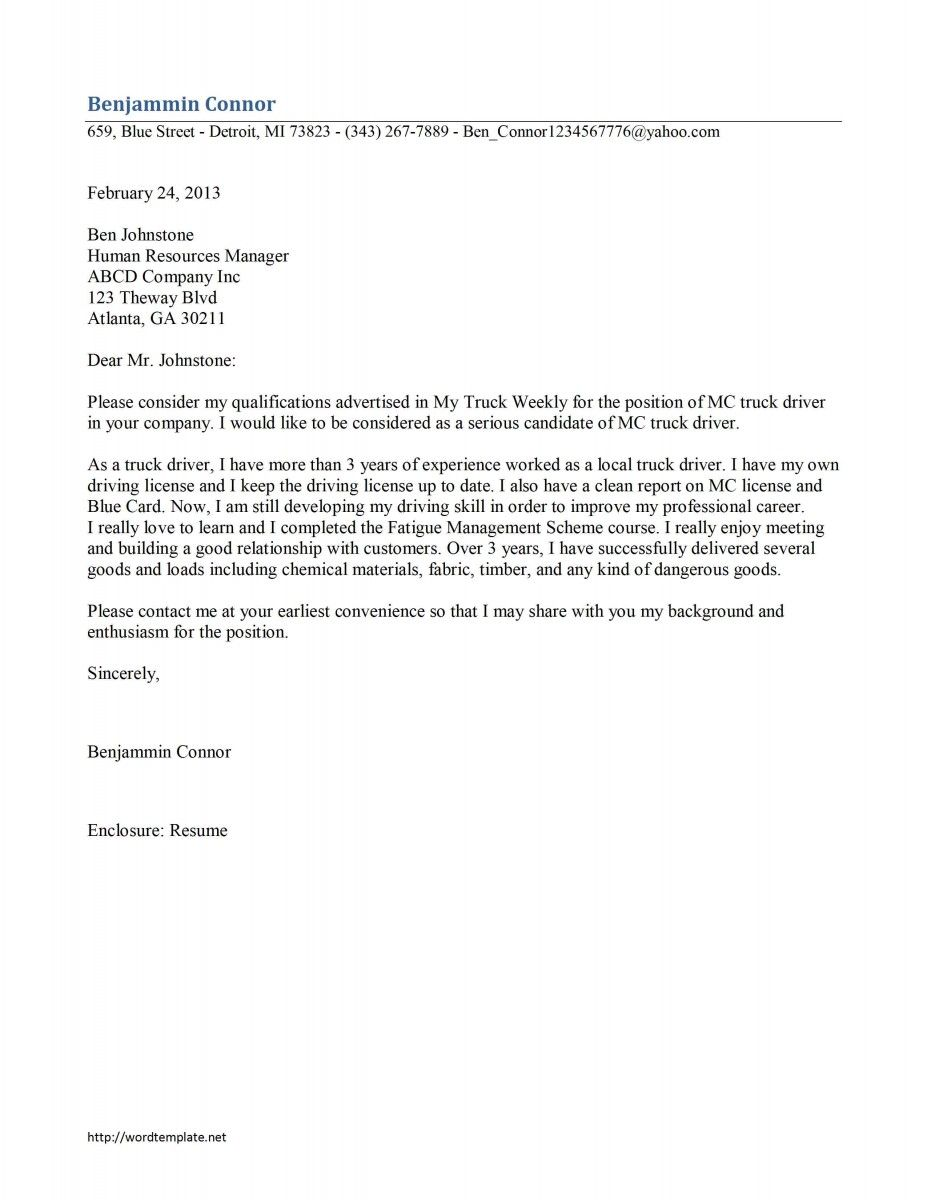 Sample Job Application Letter Word How Create Cover Template