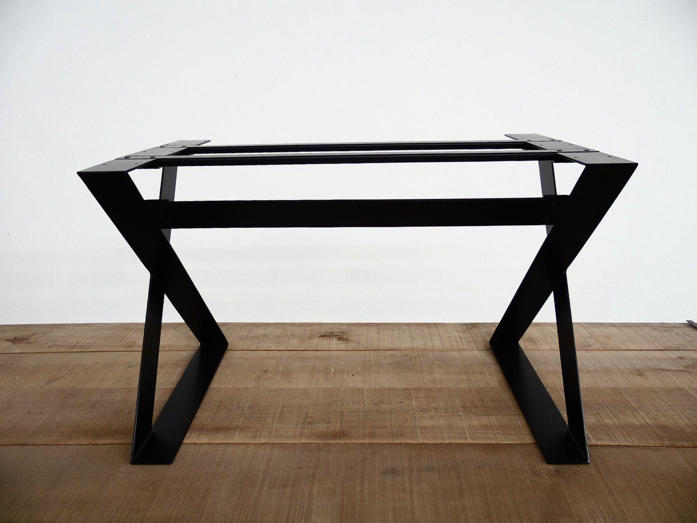 "28"" X 24"" - Apart 42"" X-Frame Flat Steel Table Base , Height 26"" - 32"" by Balasagun on Etsy https://www.etsy.com/listing/249196346/28-x-24-apart-42-x-frame-flat-steel"