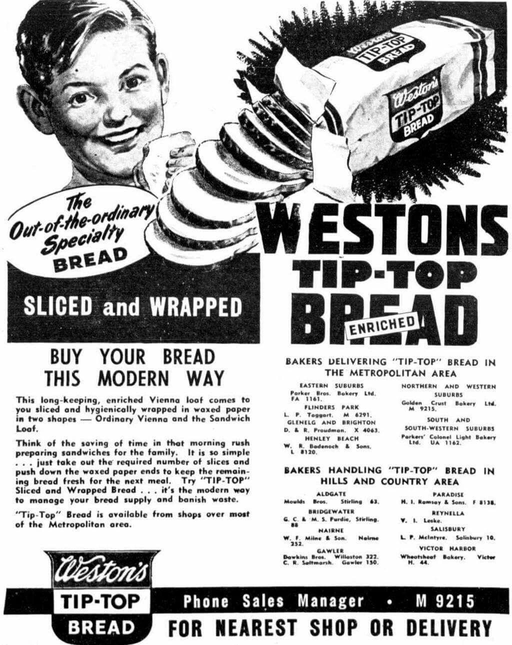 Weston's Tip Top Bread.