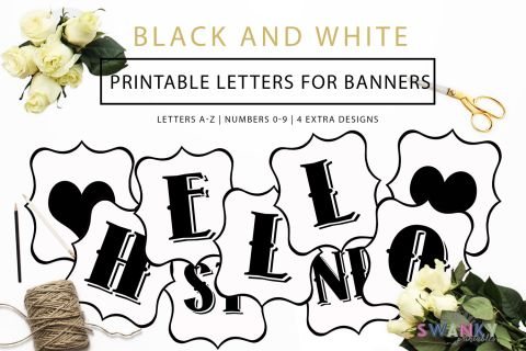 Free Printable Black And White Banner Letters  Banner Letters