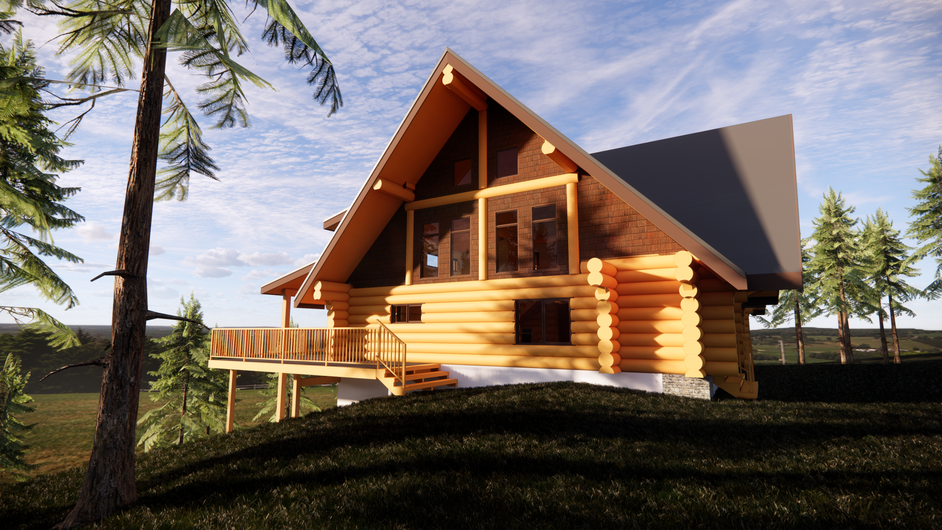 Render Wednesday! Here's a log home we have been working on the last while. The existing home was disassembled in the Fraser Valley and moved to Kamloops. #procaddesigns #renderwednesday #loghome #ranch #instahome #render #virtual #design #houseplans #realestate