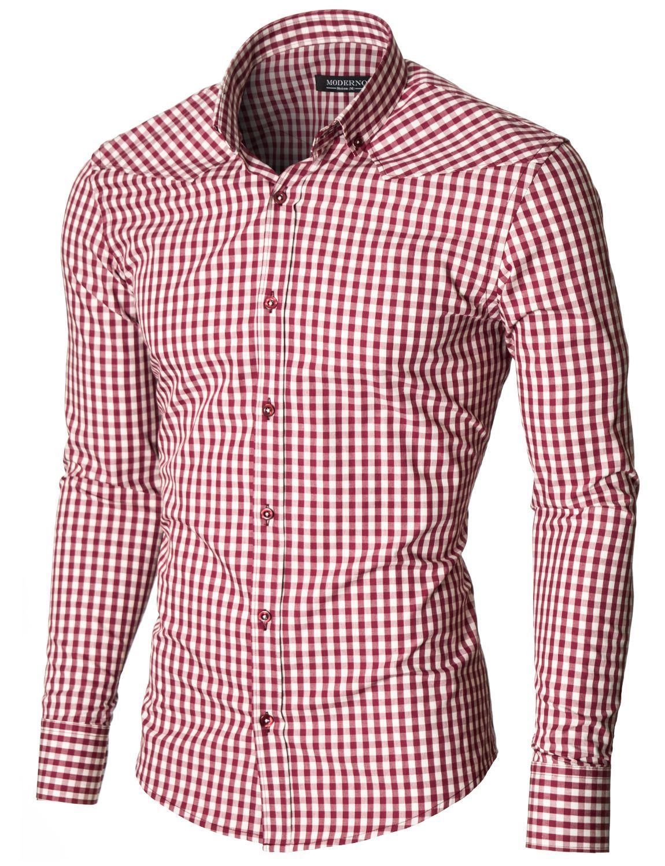 MODERNO Slim Fit Freizeit Kariert Langarm Herrenhemd (MOD1458LS) Rot / Weiß
