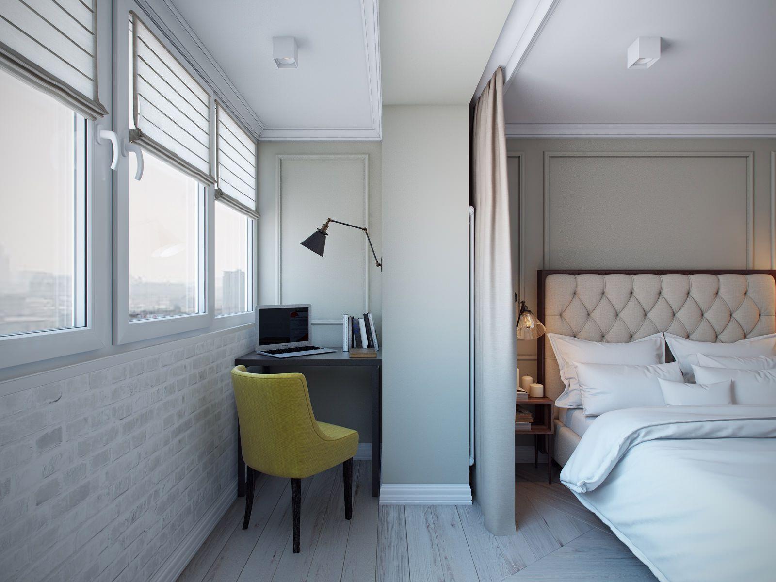 дизайн спальни совмещенной с лоджией фото
