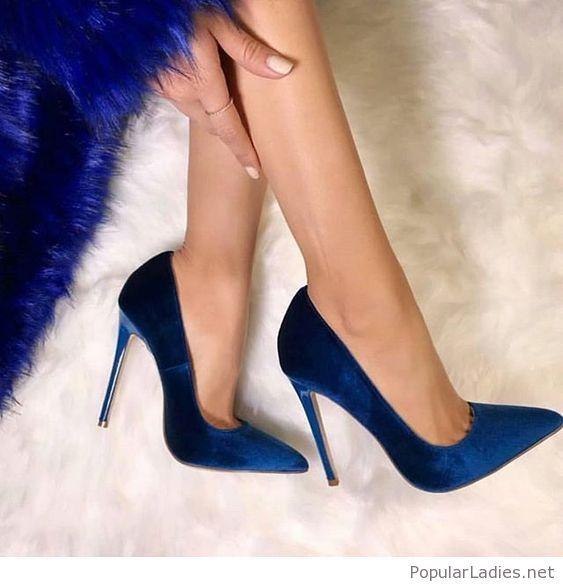 Amazing bright blue velvet pumps. Amazing bright blue velvet pumps Shoes  High Heels ... 0efd0cabd449