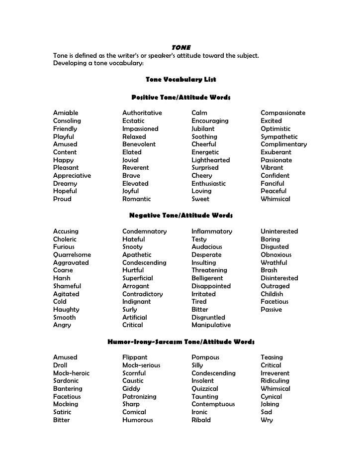 Tone word list Teaching ELA Pinterest Tone words list and - meeting minutes word