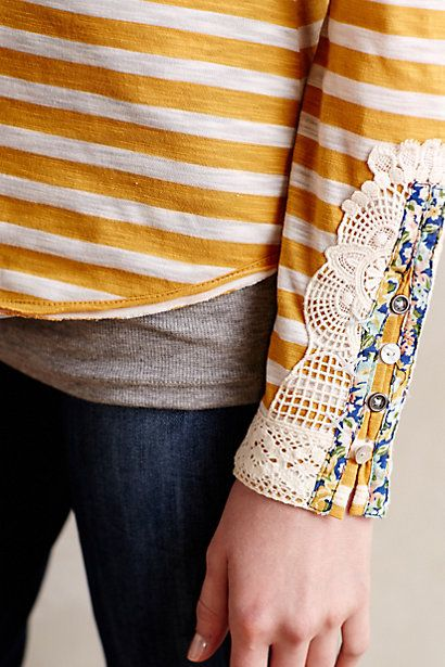 Lata Tee - anthropologie.com Love this idea, but not on a stripe, rather on a plain shirt where you can appreciate the detailing on the sleeves.