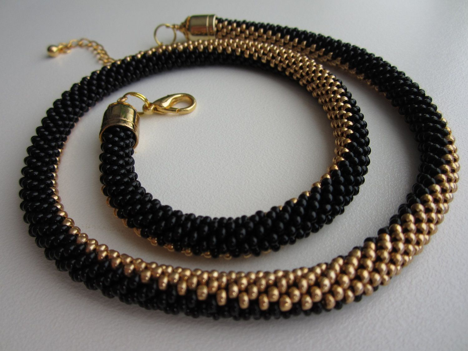 Perfect Balance Bead Crochet Necklace Seed Bead Necklace Rope