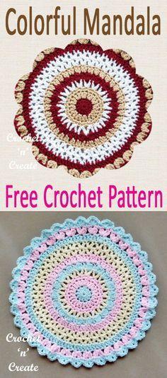 Colorful Mandala Free Crochet Pattern | crochet | Pinterest | Häkeln ...
