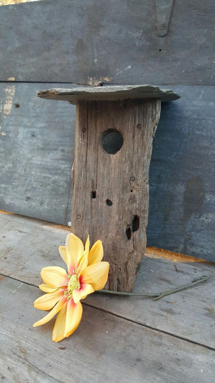 Vintage Primitive Birdhouse Slate Roof, Stone, Barnwood