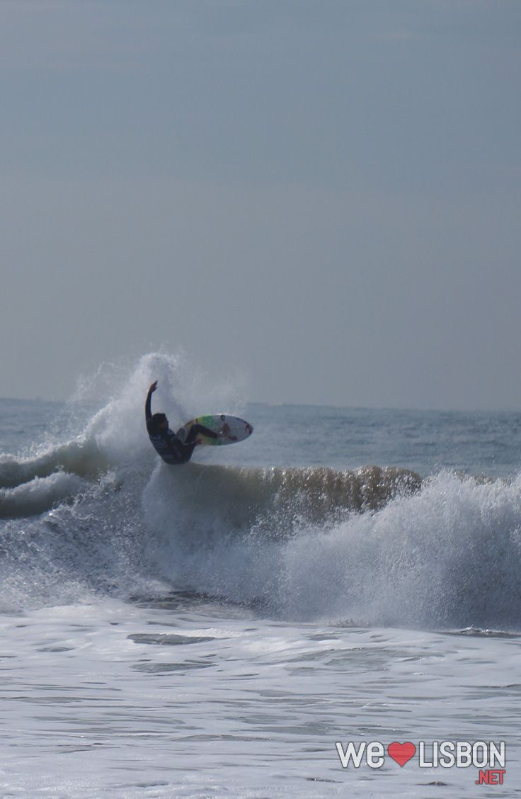Winter Surfing at Carcavelos Beach near Cascais, Portugal