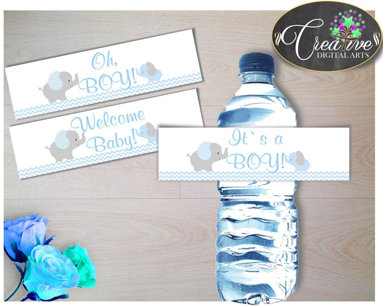 Blue Grey Water Bottle Labels Printable Elephant Water Bottle Wraps Elephant Baby Shower Boy