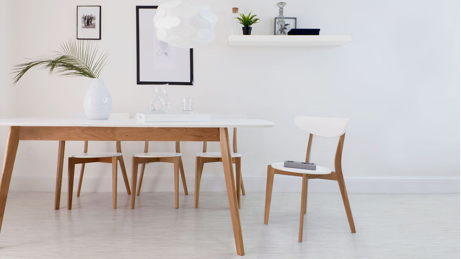 Attractive Modern White And Oak Extending Dining Set | Dining Chairs