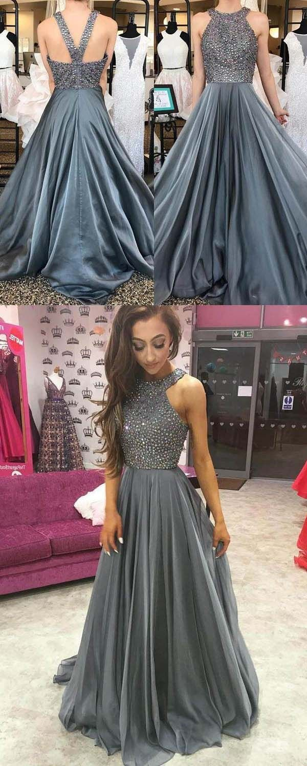 Outlet appealing prom dresses long grey chiffon aline rhinestone